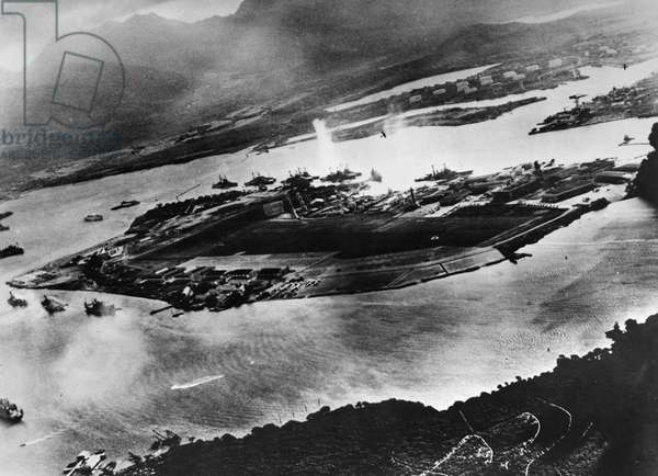 WWII: PEARL HARBOR, 1941 Aerial view of Ford Island in Pearl Harbor, immediately after the Japanese attack. Photograph, 7 December 1941.