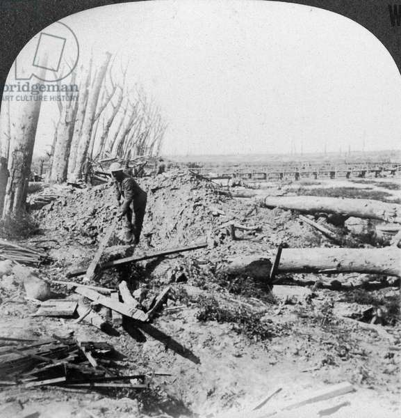 WORLD WAR I: MENIN ROAD A British soldier scrounging for souvenirs from the battlefield at Menin Road Ridge in Flanders. He uses a long wooden plank for fear the object might be booby trapped. Stereograph, c.1917.