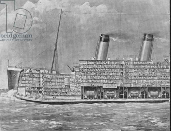 THE TITANIC, 1912 The biggest ship in the world, shown in section. From a contemporary newspaper, April 20, 1912.