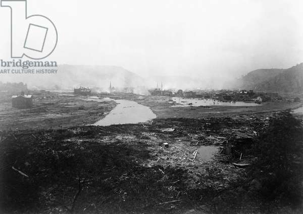 JOHNSTOWN FLOOD, 1889 Ruins of Johnstown, Pennsylvania after the flood on May 31, 1889. Photograph, 1889.