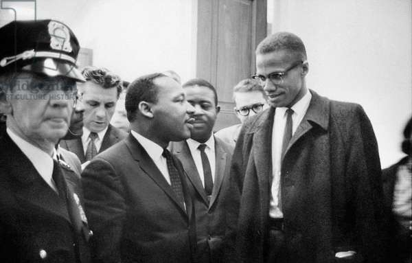KING AND MALCOLM X, 1964 Dr. Martin Luther King Jr. (left), American cleric and civil rights leader, photographed with American religious and political leader Malcolm X, before a press conference in Washington, D.C., 26 March 1964.