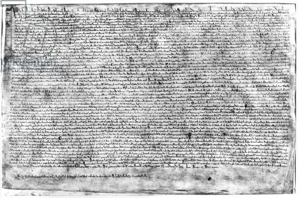 MAGNA CARTA, 1215 One of the four surviving orginal manuscripts of the Great Charter signed by King John on June 15, 1215.