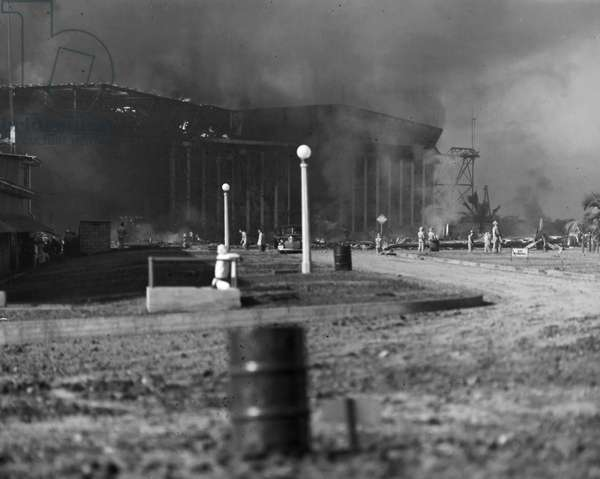 WORLD WAR II: PEARL HARBOR Scene after the Japanese attack on Pearl Harbor, 7 December 1941.