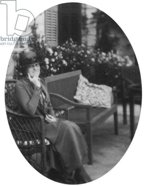 EDITH WHARTON (1862-1937) American writer. Photographed on the terrace of her villa in Hyères on the French Riviera, 1920s.