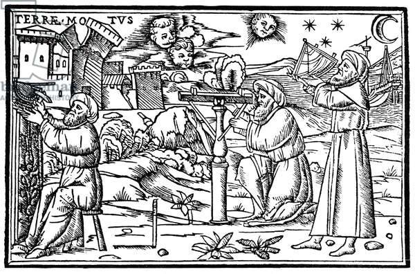 ASTROLOGERS, 1513 Arabian astrologers scanning the heavens. Woodcut from Ambrosius Theodosius Macrobius' 'In Somnium Scipionis,' Venice, 1513.