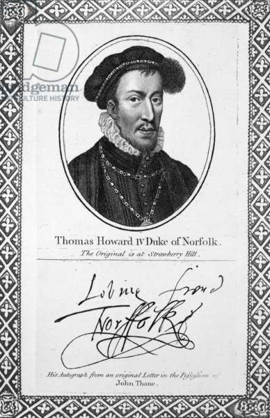 THOMAS HOWARD (1536-1572) 4th Duke of Norfolk. Engraving, c.1819, after the original belonging to Horace Walpole.