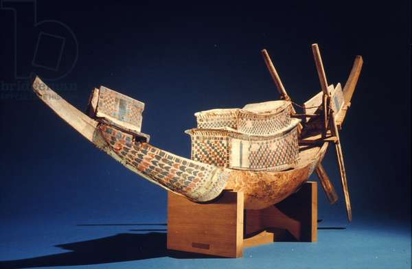 TUTANKHAMEN: WOODEN BOAT Model painted wooden boat from Tomb of Tutankhamen, c.1342 B.C.