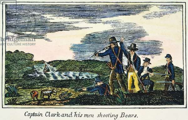 LEWIS & CLARK: BEARS, 1800s Shooting bears during the Lewis & Clark expedition: coloured  engraving, 1811, from a contemporary account of the expedition.