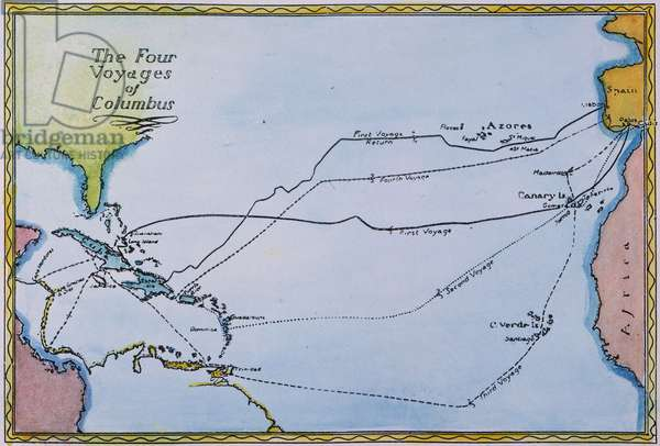 COLUMBUS: MAP, 1400s Map of the four voyages made by Christopher Columbus from Spain to the New World. Illustration, 1939.