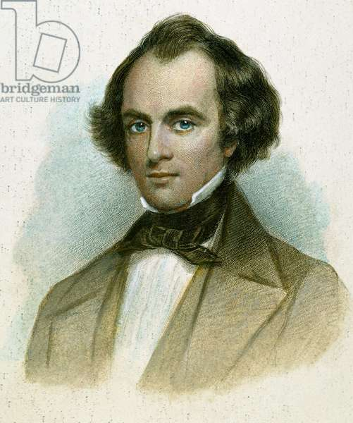 NATHANIEL HAWTHORNE (1804-1864). American writer. Hawthorne in the year 'The Scarlet Letter' was published. Stipple engraving, 19th century, by T. Phillibrown after a painting, 1850, by Cephas G. Thompson.
