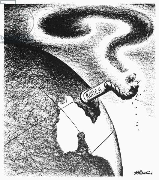 CARTOON: KOREAN WAR, 1950 American cartoon foretelling the explosiveness of the conflict precipitated in June by North Korea's invasion of South Korea. Cartoon by Daniel R. Fitzpatrick, July 1950.