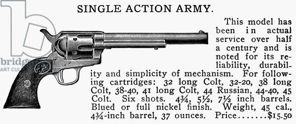 REVOLVER, 19th CENTURY Single Action Army Revolver. Line engraving, late 19th century.