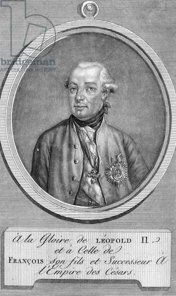 LEOPOLD II (1747-1792) Holy Roman emperor, 1790-1792. Mezzotint, French, late 18th century.