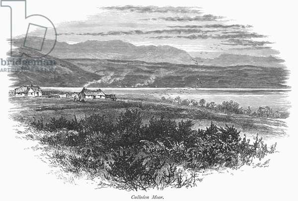 SCOTLAND: CULLODEN MOOR View of Culloden Moor in the Scottish Highlands, site of the battle in 1746 where Jacobite rebels met their final defeat against British government forces. Wood engraving, c.1875, after William Henry James Boot.