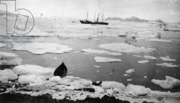 PEARY EXPEDITION, c.1908 A ship and a canoe among ice floes during an Arctic expedition led by Robert Peary. Photograph by Matthew Henson, c.1908.