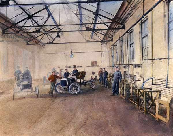 FORD AUTO FACTORY Testing at Henry Ford's Piquette plant c.1905. Oil over photograph.