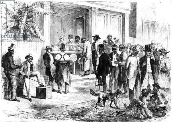 FREEDMEN VOTING, 1867 Freedmen voting in New Orleans in 1867. Wood engraving from a contemporary American newspaper.