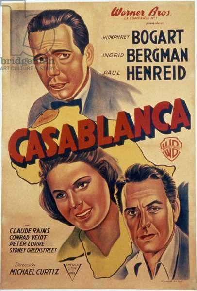 CASABLANCA, 1942 Argentine poster for the American film 'Casablanca,' 1942, featuring stars Humphrey Bogart, Ingrid Bergman, and Paul Henreid.