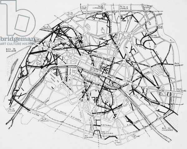 PARIS: HAUSSMANN PLAN Plan of Paris, France, c.1870, showing Georges Eugène Haussman boulevards superimposed in heavy black.