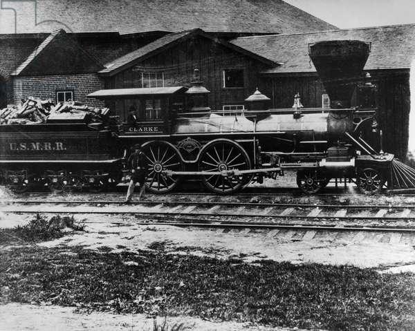 CIVIL WAR: LOCOMOTIVE A Union Army locomotive during the American Civil War. Photographed by Mathew Brady, c.1860.