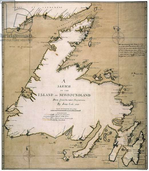 COOK: NEWFOUNDLAND, 1763 'A Sketch of the Island of Newfoundland' drawn in 1763 by James Cook when he was a sailing-master in the Royal Navy.