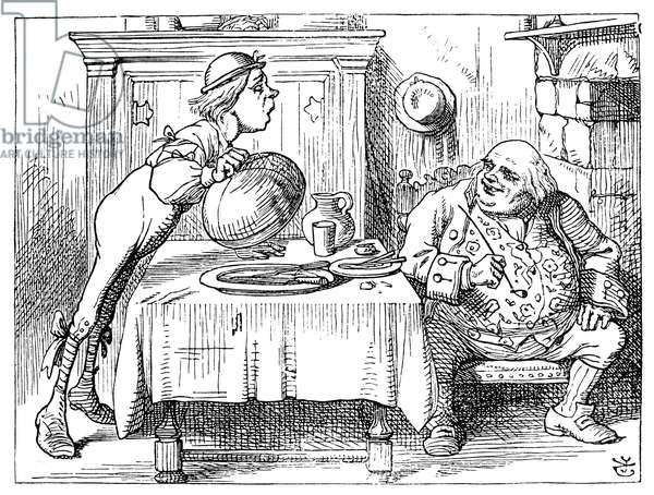 ALICE IN WONDERLAND, 1865. 'You are old, Father William' (Advice from a Caterpillar). Illustration by John Tenniel from the first edition of 'Alice's Adventures in Wonderland,' 1865.