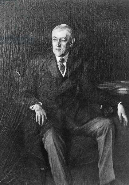 WOODROW WILSON (1856-1924) 28th President of the United States. Wood engraving, 1918, by Timothy Cole after a painting by John Singer Sargeant.