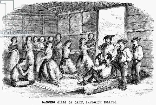 HAWAII: DANCERS, 1855 Dancers in Oahu, Sandwich Islands (now Hawaii). Wood engraving, American, 1855.