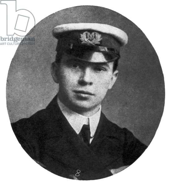 TITANIC: JACK PHILLIPS Wireless operator on the 'Titanic,' 1912.