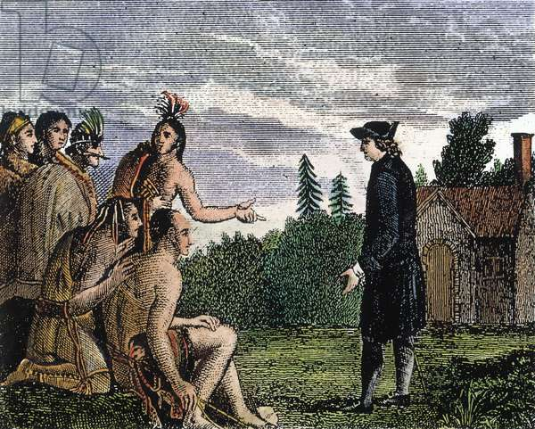 JOHN WESLEY (1703-1791) when a missionary to the Native Americans in Georgia in 1736-37. American engraving, early 19th century.