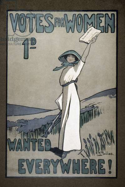WOMEN'S RIGHTS, c.1907 English poster for Votes for Women newspaper, c.1907.
