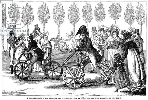 PARIS: BICYCLING, 1818 The velocipede course in the garden of the Luxembourg, Paris, France, in 1818. Wood engraving, French, 19th century.