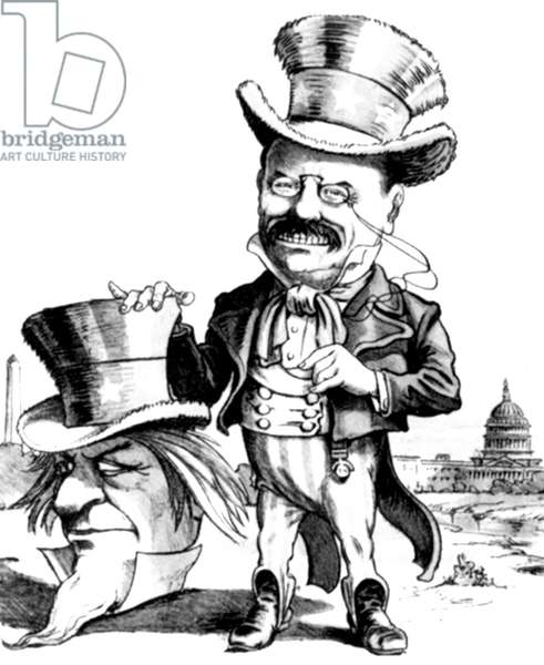 TEDDY ROOSEVELT CARTOON. Uncle Sam Unmasked: American cartoon, c.1905, showing President Roosevelt as the man behind the Uncle Sam mask.