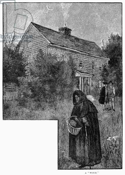 SALEM WITCH, 1692 Wood engraving, American, late 19th century.