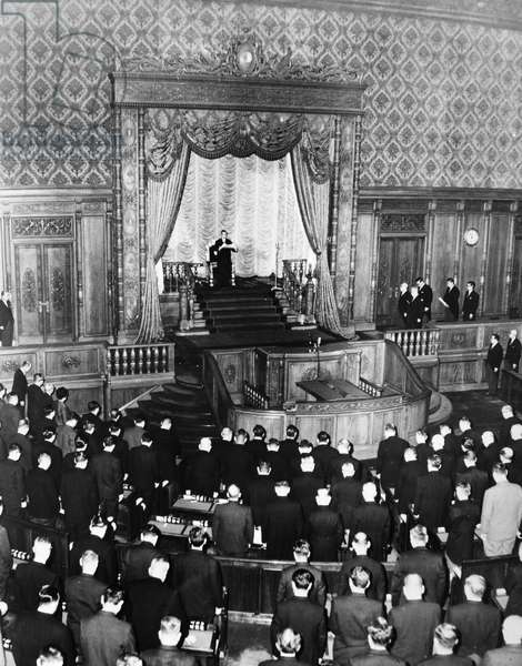 JAPANESE PARLIAMENT A session of the Japanese parliament is opened by Emperor Hirohito. Undated photograph.