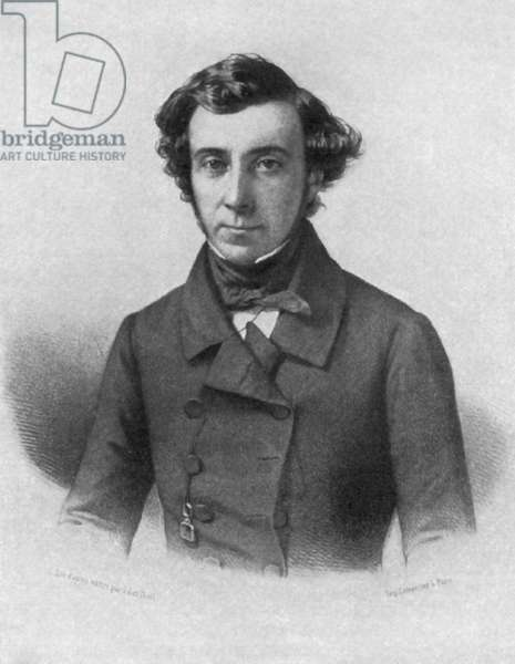 ALEXIS de TOCQUEVILLE (1805-1859). French historian, sociologist, political theorist, and statesman. Contemporary French lithograph.