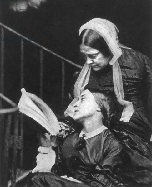 CHRISTINA ROSSETTI  (1830-1894). English poet. Photographed with her mother in 1863 by Lewis Carroll.