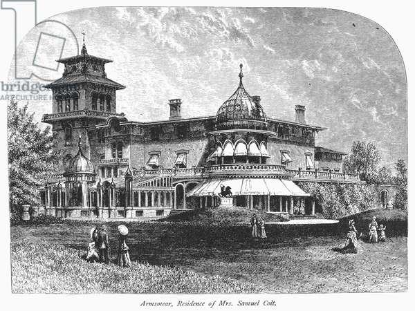 HARTFORD: ARMSMEAR MANSION 'Armsmear,' the Samuel Colt mansion at Hartford, Connecticut. Wood engraving, c.1876.