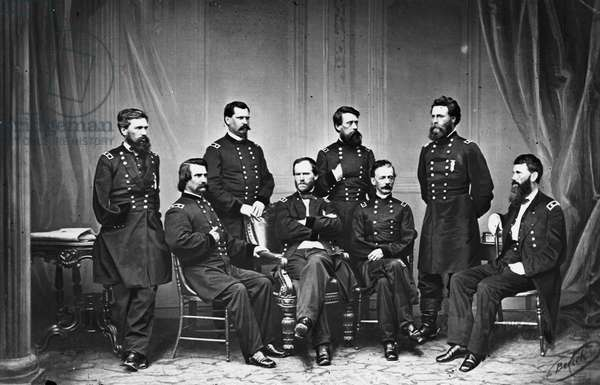 WILLIAM TECUMSEH SHERMAN (1820-1891). American Union Army general. Sherman (center) with members of his staff during the Civil War. Photograph, c.1863.