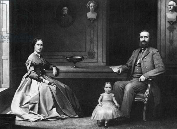 STONEWALL JACKSON (1824-1863). Thomas Jonathan 'Stonewall' Jackson. American Confederate general. With his wife Mary Anna and daughter Julia. Mezzotint engraving by William Sartain, 1866.