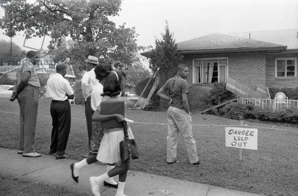 ALABAMA: CIVIL RIGHTS Group of African Americans viewing the bomb-damaged home of Arthur Shores, NAACP attorney, Birmingham, Alabama. Photographed by Marion Trikosko, 5 September 1963.