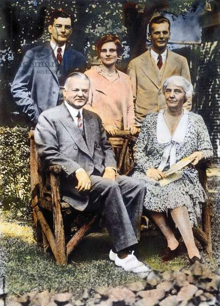 H. HOOVER AND FAMILY President and Mrs. Herbert Clark Hoover with their sons Herbert Hoover Jr., left, and Allen, and Mrs. Herbert Hoover Jr. Oil over a photograph, c.1930.