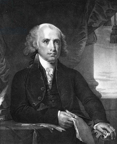 JAMES MADISON (1751-1836) Fourth President of the United States. Lithograph, 19th century, after Gilbert Stuart.