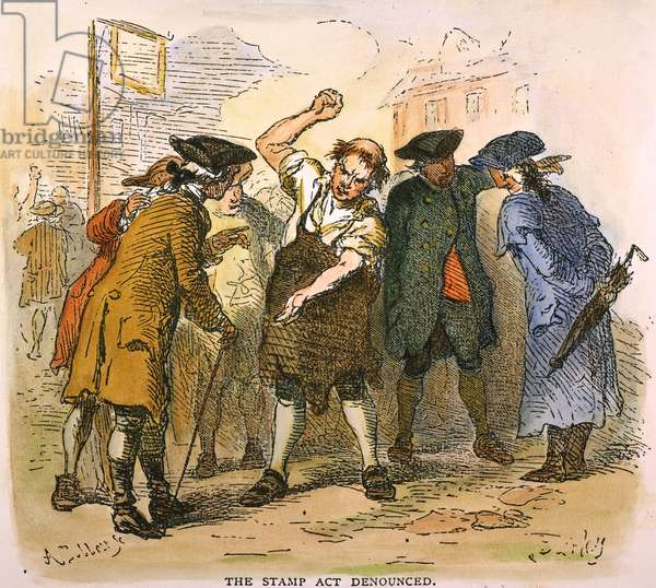 STAMP ACT, 1765 American colonists denouncing the Stamp Act in 1765. Line engraving, 19th century.