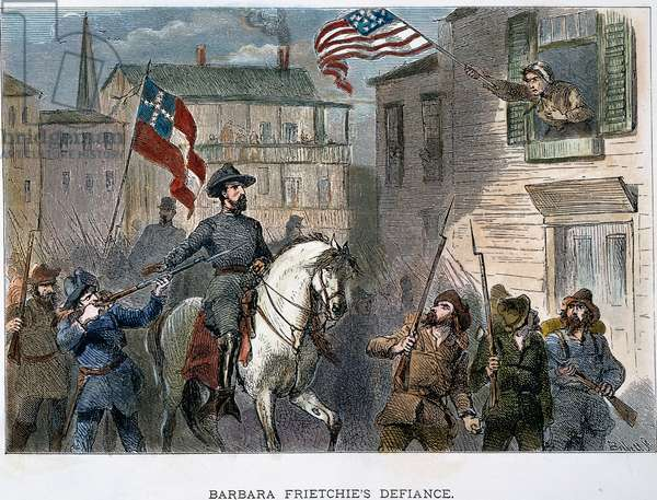 BARBARA FRIETSCHIE (1766-1862). American patriot. Mrs. Barbara Frietschie waving the Union flag above General 'Stonewall' Jackson and his Confederate troops as they marched through Frederick, Maryland, in 1862. Wood engraving, American, 19th century.