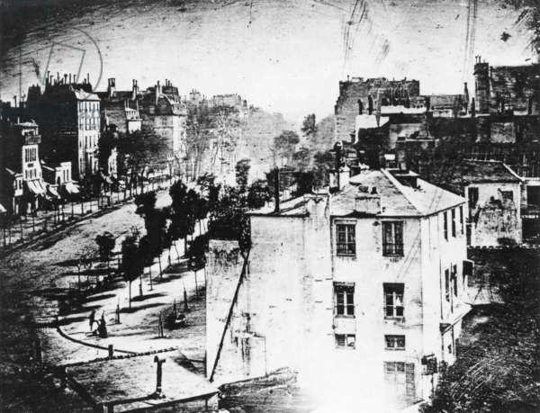DAGUERREOTYPE, 1838 Daguerreotype made in 1838 by Louis-Jacques-Mande Daguerre of a Paris boulevard, the first photograph to show a human being.