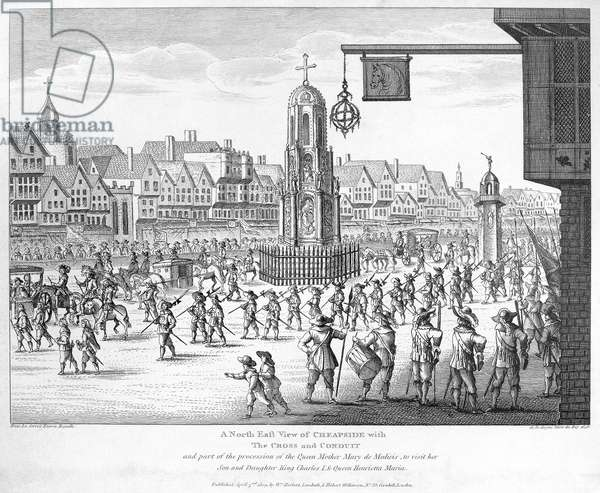 MARIE DE MEDICI (1573-1642) Queen of France, 1600-1610. Procession of Queen Marie in Cheapside, London, on the way to visit her daughter, Queen Henrietta Maria and King Charles I of England in 1638. English copper engraving, 1809.