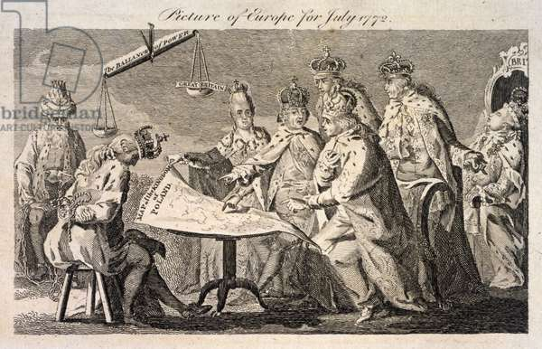 PARTITION OF POLAND, 1772 'Picture of Europe for July 1772.' Cartoon about the Partition of Poland in 1772, showing Leopold II of Prussia, Frederick II of Prussia, Catherine II of Russia, Louis XV of France, Stanislaw II of Poland, George III of England, and a Turkish leader. Etching, 1772.