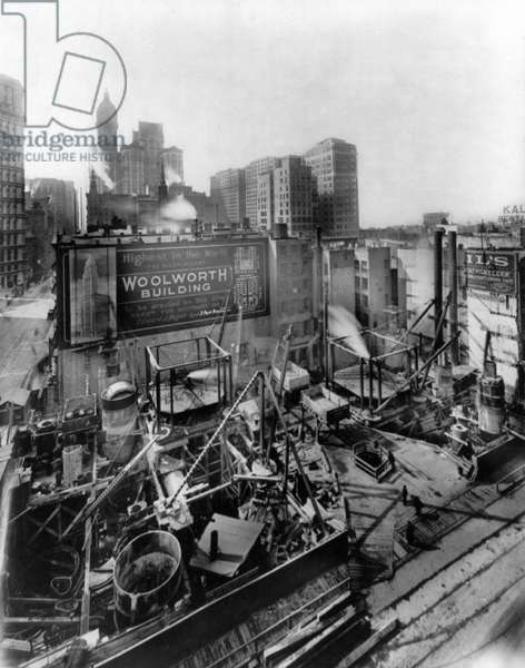 WOOLWORTH BUILDING, 1911 The Woolworth Building foundations, New York City. Photograph, 3 March 1911.