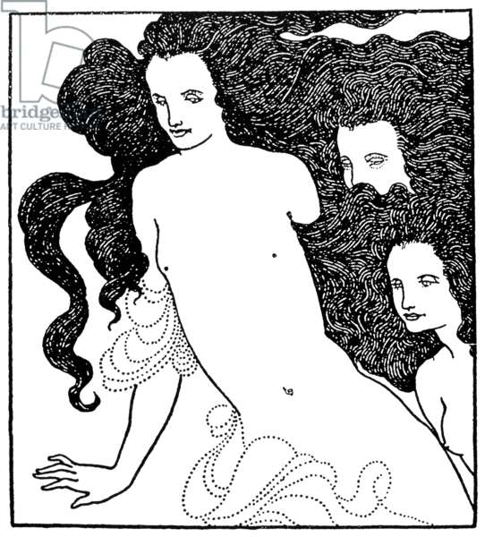 Detail from Aubrey Vincent Beardsley's frontispiece to 'The Comedy of the Rhinegold,' 1896.